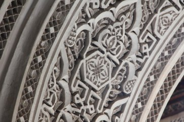 Details of carvings and tile work at El Bahia Palace.