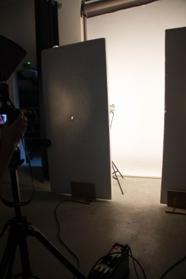 This setup is great for soft lighting. You face 2 lights equidistant towards the corners, and the subject stands in the middle of the box.