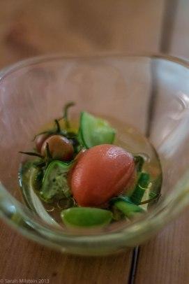 Deconstructed gazpacho sorbet