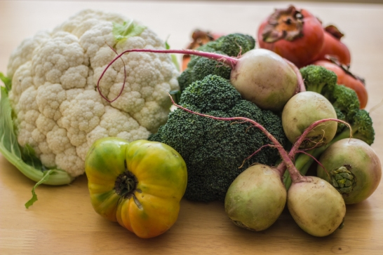 Heirloom Tomato, Watermelon Radishes, Cauliflower, and Broccoli