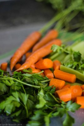 Carrots, celery, and parsley