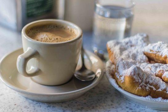 Café au lait and beignets at Café du Monde