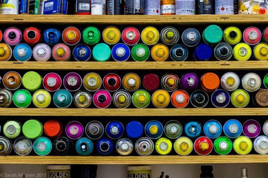 Spray Paint in Kelly DeFayette's studio